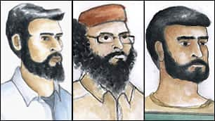 Three Ontario men, from left to right, Khurram Sher, Hiva Alizadeh and Misbahuddin Ahmed, have been charged in connection with an alleged domestic terrorism plot.