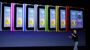 Apple CEO Steve Jobs shows off a variety of new iPods at a media event in San Francisco on Wednesday.