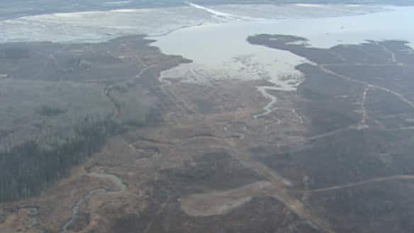 The tailings pond at CNRL's Horizon oilsands project near Fort McKay, Alta. The western edge of the pond, which doesn't have a berm, can be seen in the middle of the picture.