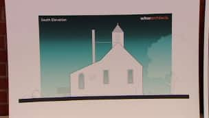 An architectural drawing of the replica Seaview United Baptist Church, which will be built this summer on the former Africville site in Halifax.