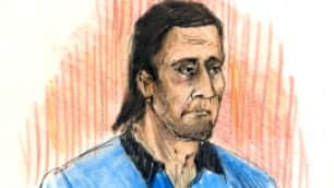 Sayfildin Tahir Sharif, shown in a court sketch, appeared briefly in an Edmonton court Thursday morning.