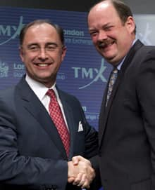 Xavier Rolet, left, CEO of the London Stock Exchange, and Thomas Kloet, CEO of TMX Group, are smiling, but most Canadians don't really understand what the proposed merger of their respective institutions means in this day of virtual stock markets.