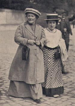 Clara Zetkin, the founder of International Women's Day, is seen at left with friend Rosa Luxemburg. Zetkin came up with the idea during a womens' labour conference in 1910.