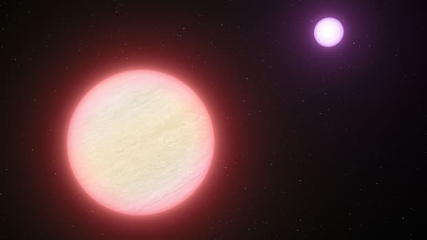 This artist's impression shows the pair of brown dwarfs named CFBDSIR 1458+10. They are the coolest pair of brown dwarfs found so far. The colder of the two components (shown in the background) is a candidate for the brown dwarf with the lowest temperature ever found.