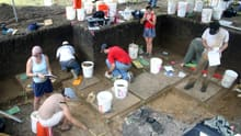 The excavation at the Debra L. Friedkin Site in Texas, where tools dating back 15,500 years have been found.