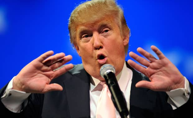 Donald Trump speaks to several Republican women's group at the Treasure Island Hotel & Casino in April in Las Vegas.