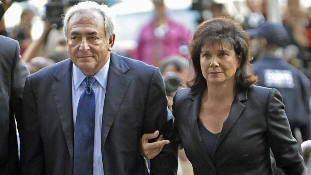 Dominique Strauss-Kahn enters Manhattan criminal court with his wife Anne Sinclair for his arraignment on Monday. His next appearance is July 18.
