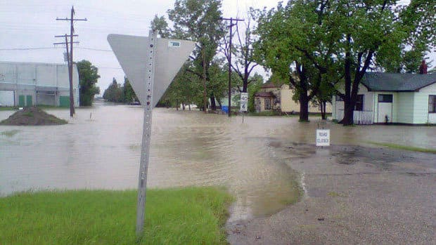 The town of Yellow Grass was hit with a flash flood on Friday night.