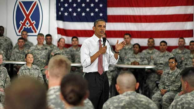 U.S. President Barack Obama speaks to soldiers in New York Thursday. The Republicans voted in the House Friday to deny him authority to spend on military action in Libya, a measure likely to be reversed in the Senate.