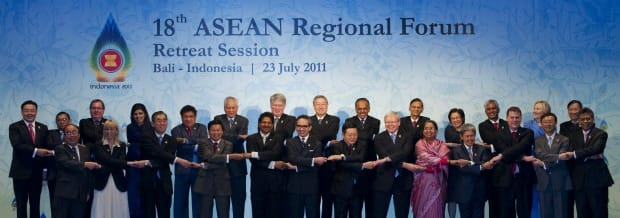 Foreign Affairs Minister John Baird, third from right in front row, met with Burmese Foreign Minister Wunna Maung Lwin, second from left in top row, at the ASEAN foreign ministers meeting in Bali, Indonesia, July 23, 2011.