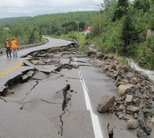 Heavy rains washed out a large section of Highway 138 in the Charlevoix region.