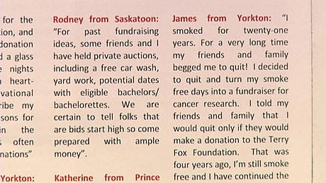 The Terry Fox Foundation admits it used fabricated quotes by fictitious people in a booklet sent to Saskatchewan donors.