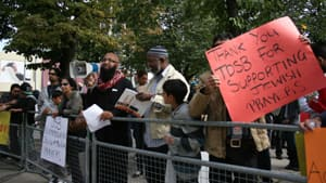 Two sides squared off outside Toronto District School Board headquarters Saturday over religious prayer in classrooms.