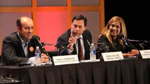 Taking part in Thursday night's debate were, from left to right, Paul Ferreira of the NDP, Brad Duguid of the Liberals and Pam Hundal of the Progressive Conservatives.