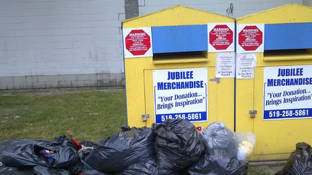 Garbage bags had piled up in front of Jubilee boxes at Jack Charron Arena before the boxes were taken off the property.