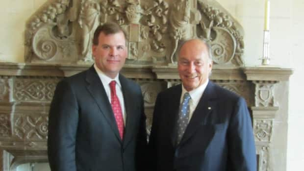 Foreign Affairs Minister John Baird, left, met with the Aga Khan, leader of the world's Ismaili Muslims, in September to discuss the government's proposed Office of Religious Freedoms. Critics suggest non-Judeo-Christian religions have been under-represented in consultations for the office. (Foreign Affairs photo)