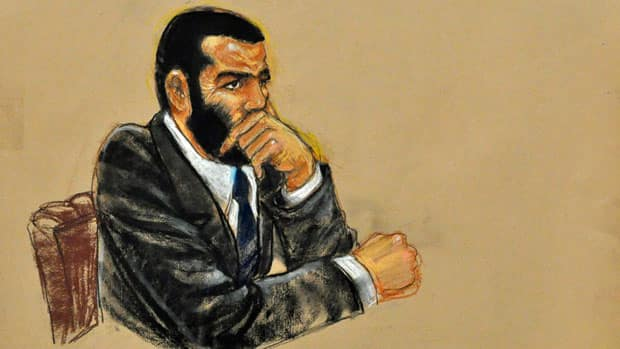 Lawyers for Omar Khadr have started the process for him to return to Canada. In this Pentagon-approved sketch, Khadr listens to closing arguments Oct. 30, 2010, in Guantanamo Bay, Cuba.