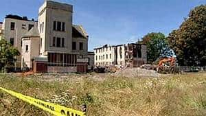 The former Woodlands School, shown following a fire in 2006 that broke out during a renovation of the buildings to turn them into condos.