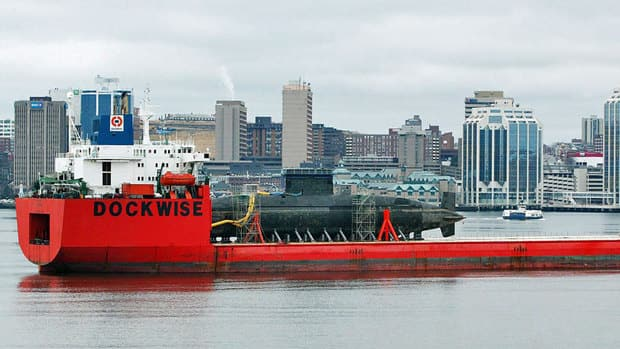The HMCS Chicoutimi sits aboard the heavy lift ship Tern in Halifax harbour on April 6, 2009. The vessel was transported to Victoria for a refit.