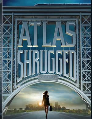 The DVD cover for 'Atlas Shrugged: Part 1', based on Ayn Rand's 1957 novel. A misprint on the packaging for 100,000 Blu-ray and DVD copies erroneously describes Rand's book as a tale of 'self-sacrifice.'