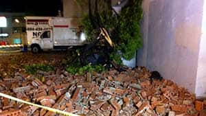 The storm apparently knocked a brick facade off the side of the Cassandra Hotel at 3075 Kingsway near Rupert Street.