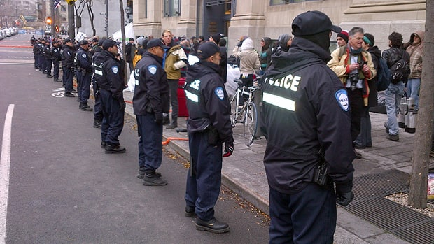 Police moved in to the Occupy Montreal site Friday morning and pulled down the remaining tents.