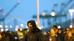 Protesters attempt to block an entrance to the Port of Oakland on Dec. 12, 2011 in Oakland, California.