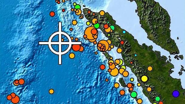 Este mapa muestra la ubicación de un terremoto que azotó el martes sobre 420 kilometros de la costa de la provincia indonesia de Aceh.