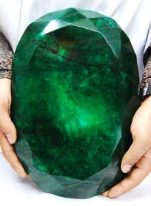 The world's largest cut emerald weighs 11.5kg and is roughly the size of a watermelon.