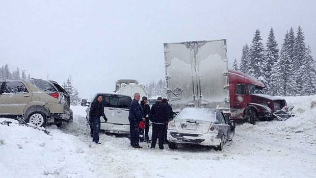 The snowy weather has caused countless crashes, including this one on the Coquihalla, submitted to the CBC by Anthony Melder.