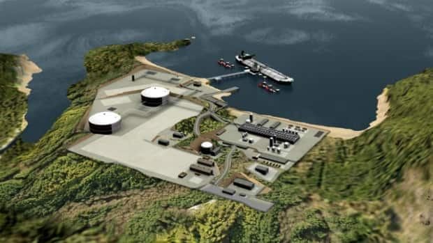 A rendering of a proposed liquefied natural gas facility in Kitimat, B.C.
