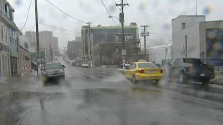 Wind and a lot of rain in downtown St. John's on Feb.12.