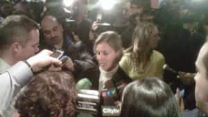 TTC chair Karen Stintz is swarmed by media following a vote Tuesday to oust Gary Webster as chief general manager.