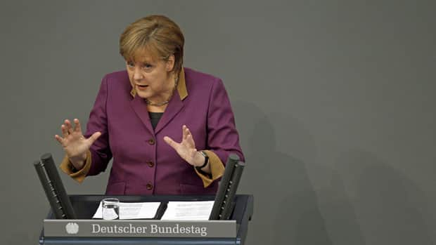 Chancellor Angela Merkel addressed the lower house of the German Parliament, the Bundestag, prior to lawmakers voting to approve a new Greek rescue package Monday.