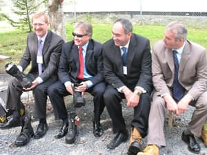 Four cabinet ministers – including (from left to right) Jerome Kennedy, Premier Danny Williams, Paul Oram, Trevor Taylor – attended a press conference in Harbour Grace announcing $8 million for Terra Nova Shoes in 2008.