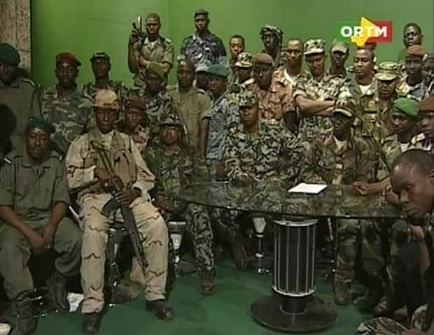 Renegade Malian soldiers appear on television at the ORTM television studio in Bamako in this March 22 still image taken from video. The soldiers declared they had seized power in protest at the government's failure to quell a nomad-led rebellion in the north.