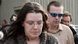 Terri-Lynne McClintic told jurors that to the best of her knowledge, Rafferty did not know Tori's mother, Tara McDonald, foreground, or her partner, James Goris, background.