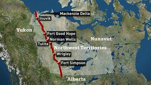 The 1,196-kilometre line would have transported natural gas from the Beaufort Sea to North American markets by connecting with the current pipeline system in Alberta.