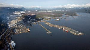 Douglas Channel, the proposed termination point for an oil pipeline in the Enbridge Northern Gateway project, is pictured in an aerial view of Kitimat, B.C.