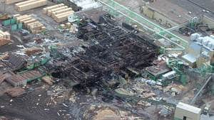 An aerial view of the burnt wreckage of the Lakeland Sawmill in Prince George, B.C.