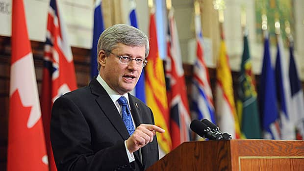 Prime Minister Stephen Harper warned of a changing world and uncertain economic conditions in a speech to mark the one-year anniversary of his majority government on Wednesday.