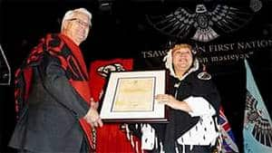 Premier Gordon Campbell and Tsawwassen First Nation Chief Kim Baird celebrate the first modern treaty negotiated under the British Columbia Treaty Commission process, in April, 2009.