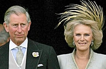 Prince Charles and Camilla, Duchess of Cornwall, leave St. George's Chapel in Windsor, England, following the church blessing of their civil wedding ceremony on April 9, 2005.