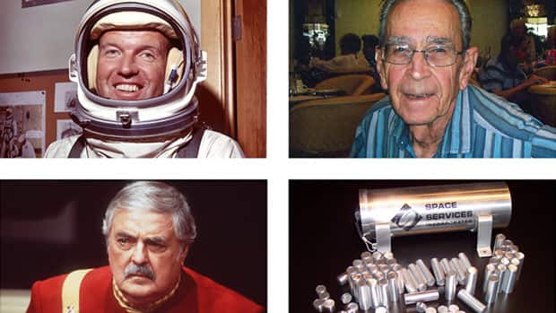Astronaut Gordon Cooper, top left, Bob Shrake, an engineer who designed spaceship control instruments for NASA's Jet Propulsion Lab, top right, actor James Doohan, bottom left, and capsules from Space Services Inc. These three men who made space their lives are also making space their final resting place. Their ashes — and hundreds of others' — in capsules from Space Services Inc. were aboard the Falcon 9 rocket that blasted into orbit May 22 as part of an in-space burial business.