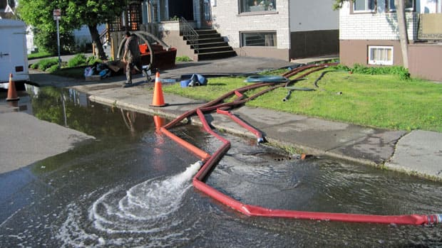 Hundreds of homeowners have been affected by sewage backup in their basements. They have been pumping out their basements steadily for at least the last 24 hours.