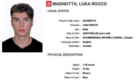 Interpol posted this profile of Magnotta on its website.