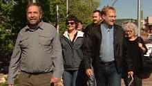 NDP Leader Tom Mulcair (left) visited Fort McMurray as part of his tour of the Alberta oilsands on Thursday.
