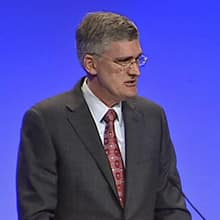 ExxonMobil's Geoff Parker addressed NOIA delegates about Hebron Thursday morning.
