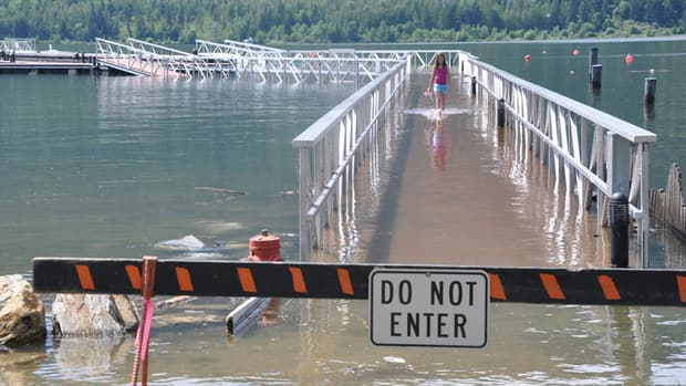 The marina at Mara Lake, just south of Sicamous, was out of bounds after heavy floods swept the area on Monday.