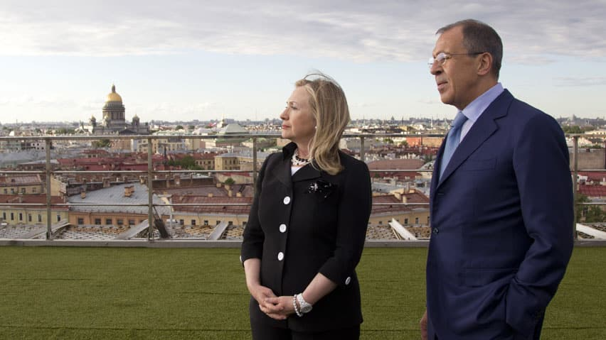 U.S. Secretary of State Hillary Rodham Clinton meets with Russian Foreign Minister Sergey Lavrov, in St. Petersburg, Russia.